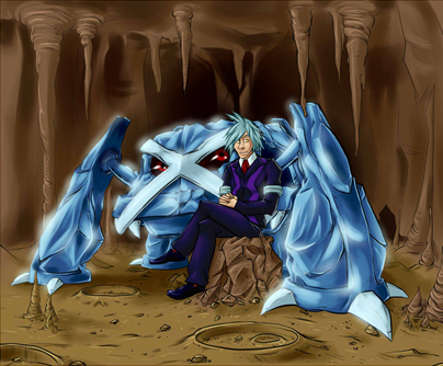 In this piece of fanart by Wildragon, Steven, his hair a little ruffled but his clothing immaculate as always, takes a break from rock-hunting in Meteor Falls with his strongest Pokémon, the steel behemoth Metagross, at his side.  If you like what you see, check out Wildragon's DeviantArt page, http://wildragon.deviantart.com/.