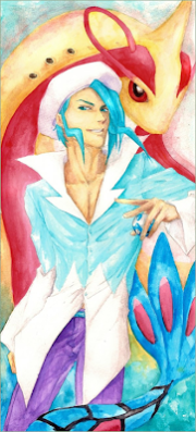 This watercolour by Boolsajo shows Wallace in his (far more sensible) Ruby/Sapphire outfit and accompanied by his Milotic.  If you like it, take a look at http://boolsajo.deviantart.com/.