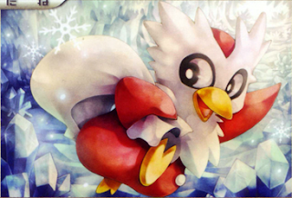 Artwork of the Delibird card from the Heart Gold and Soul Silver set of the Pokémon trading card game.