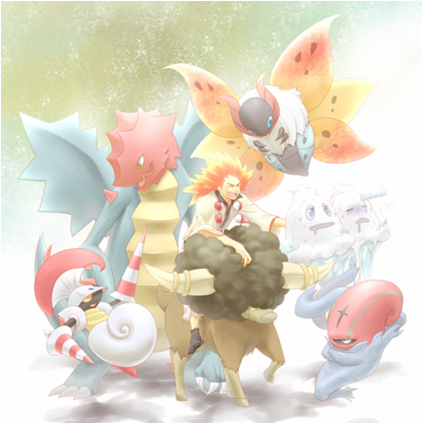 Okay, I found this on the internet and it's brilliant but I cannot for the life of me figure out who the artist is.  This piece of fanart shows Alder in the company of his his entire team.  Clockwise from the top right: Volcarona, Vanilluxe (who seems to be wilting under Volcarona's radiance), Accelgor, Bouffalant, Escavalier and Druddigon.