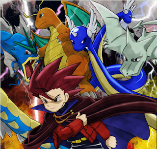 A scene from the Pokémon Adventures manga, with colour and additional details by Djinnjo (http://djinnjo.deviantart.com/). Lance is here accompanied by his team from Red and Blue, and appears markedly more youthful than in his later incarnations.