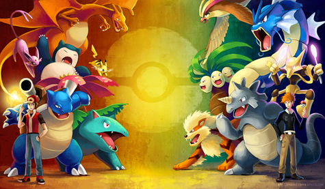 This lovely piece is by Aragornbird (more of whose work can be found at http://www.arkeis.com/) and portrays the epic showdown between Blue and Red (who reappears in Gold and Silver as a 'bonus boss' with the team shown here)