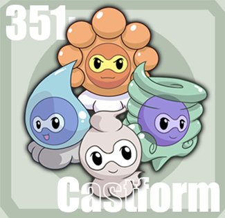 Castform's four different weather forms posing as a team,  by Tazsaints (http://tazsaints.deviantart.com/).
